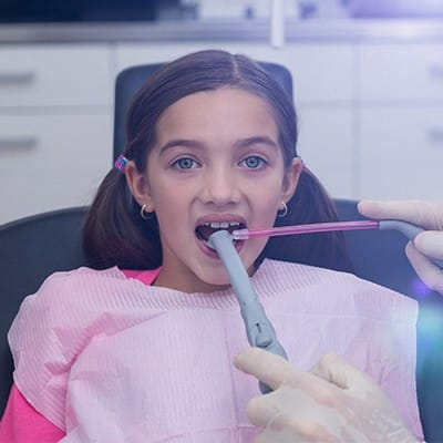 Child receiving intraoral images
